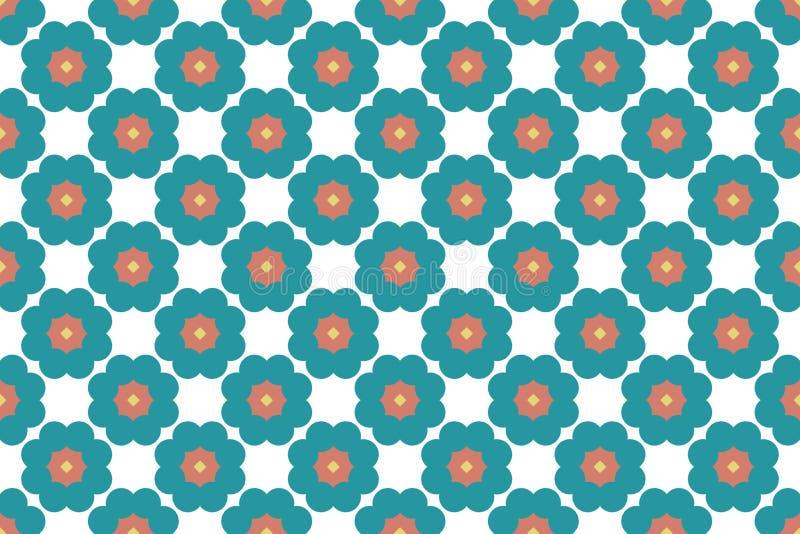 Naadloos patroon De witte achtergrond, gestalte gegeven cirkel bloeit, vierkanten en sterren in bruin, geel en tuquoise tinten royalty-vrije illustratie