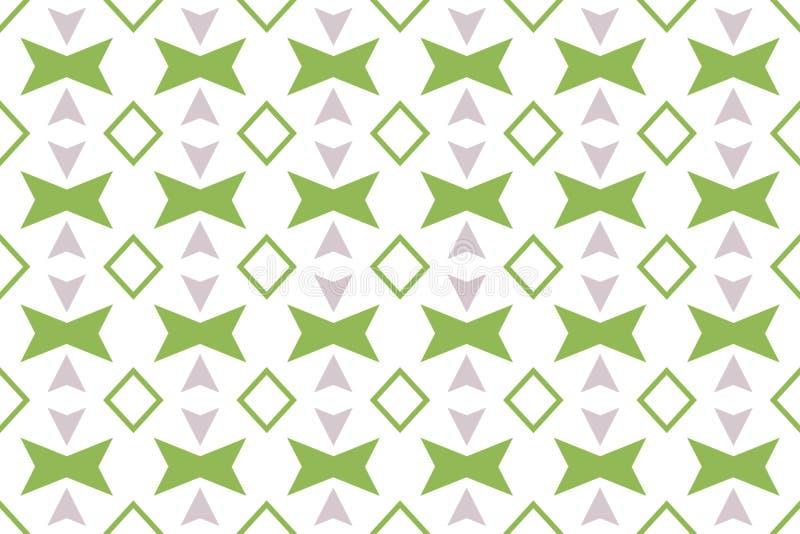 Naadloos patroon De witte achtergrond, gestalte gegeven 45 graad roteerde vierkanten, diamanten, pijlen in grijze en groene kleur royalty-vrije illustratie