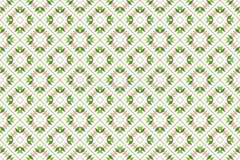 Naadloos patroon De witte achtergrond, de gestalte gegeven pijlen, de diamanten, de driehoeken en 45 graad roteerden vierkanten i stock illustratie