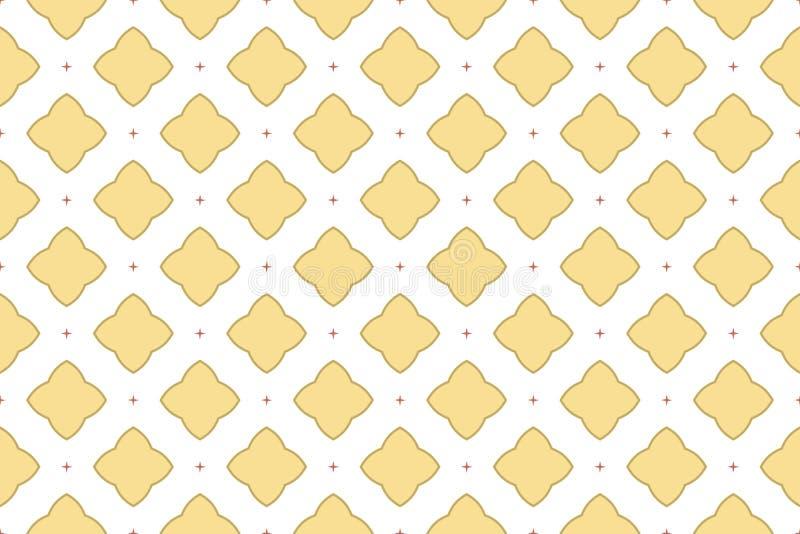 Naadloos patroon De witte achtergrond, grote en kleine vier rayed sterren in gele en bruine kleurentonen royalty-vrije illustratie