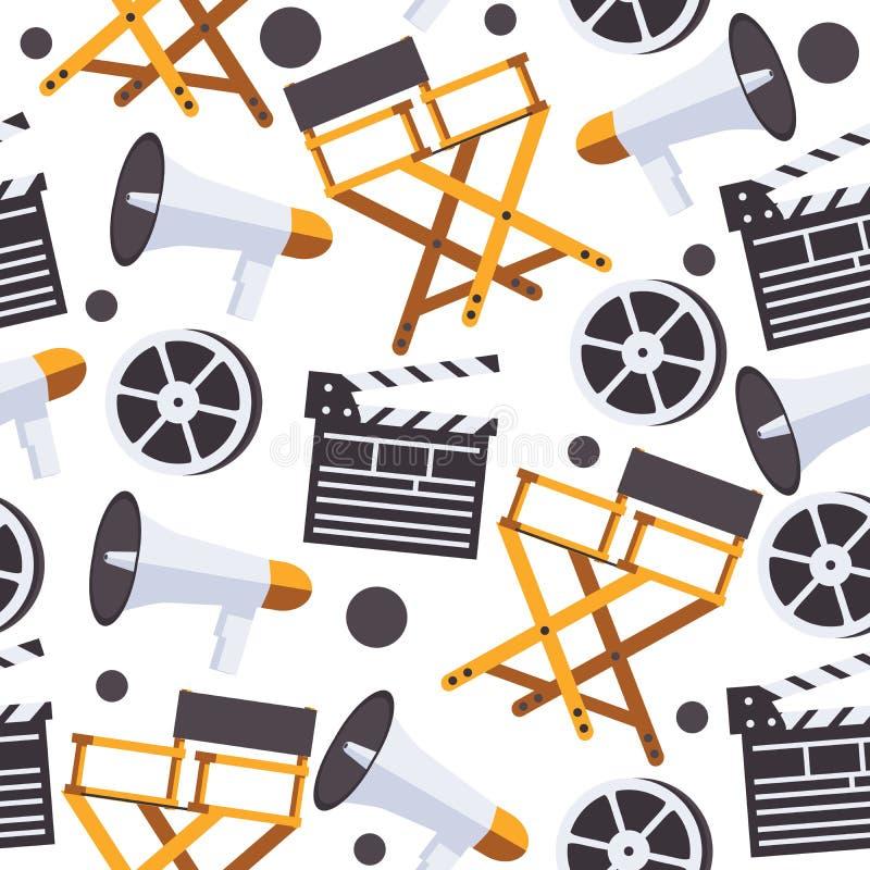 Naadloos patroon die met film ontwerp maken De directeuren zitten, klep, spoel op witte achtergrond voor vector illustratie