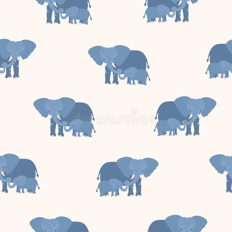 Naadloos patroon die met moederolifant zijn kalf houden door boomstam Achtergrond met familie van grappige beeldverhaaldieren op  stock illustratie