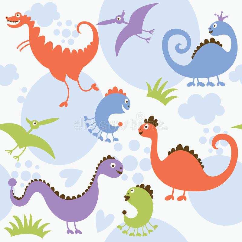 Naadloos patroon, dinosaurus vector illustratie