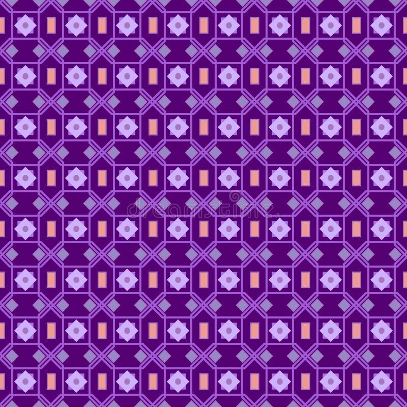 Naadloos patroon in een klein punt In de stijl van stipviooltje aan donkere purpere achtergrond arabisch royalty-vrije illustratie