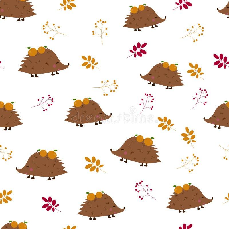 Naadloos patroon: egels met appelen en bessen, bladeren op een witte achtergrond Vlakke vector IL stock illustratie