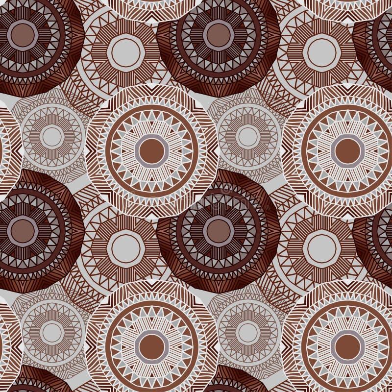 Naadloos patroon Etnisch decoratief patroon in bruine kleuren Bohostijl Vector illustratie stock illustratie