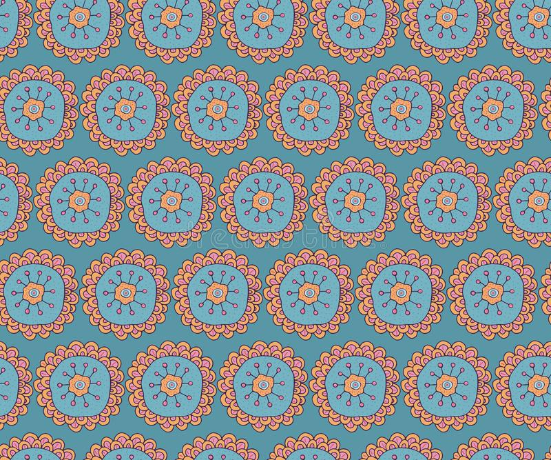 Naadloos patroon Etnisch, traditioneel ornament Bohostijl Hand-drawn gestileerde bloem Ontwerp voor textiel, verpakking, Behang stock illustratie