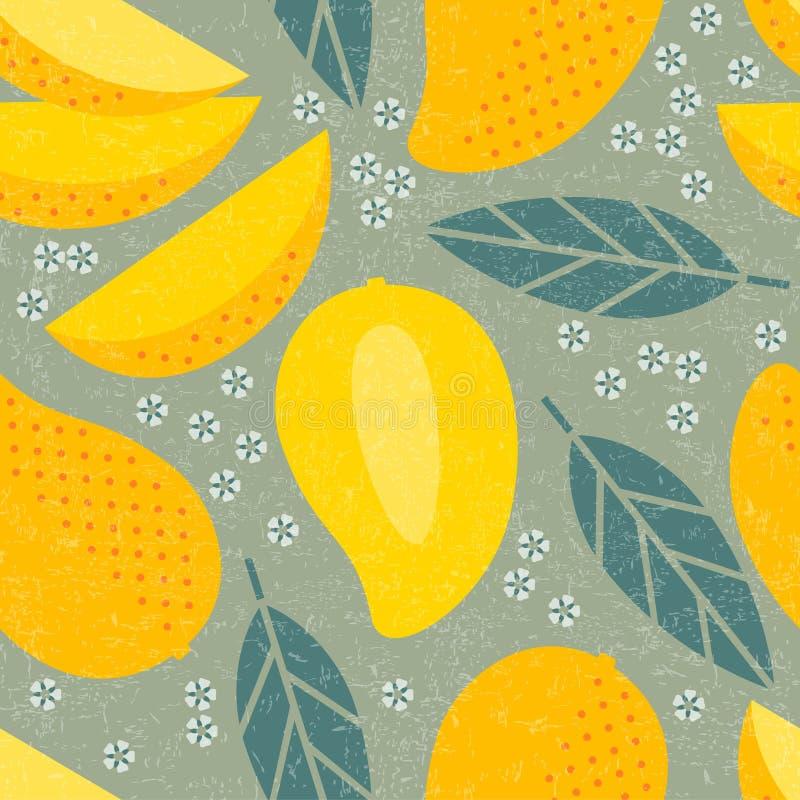 Naadloos patroon Gaan de mango sappige vruchten weg en bloeien stock illustratie
