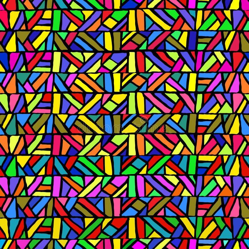Naadloos patroon in gebrandschilderd glasstijl Multicolored geometrisch royalty-vrije illustratie