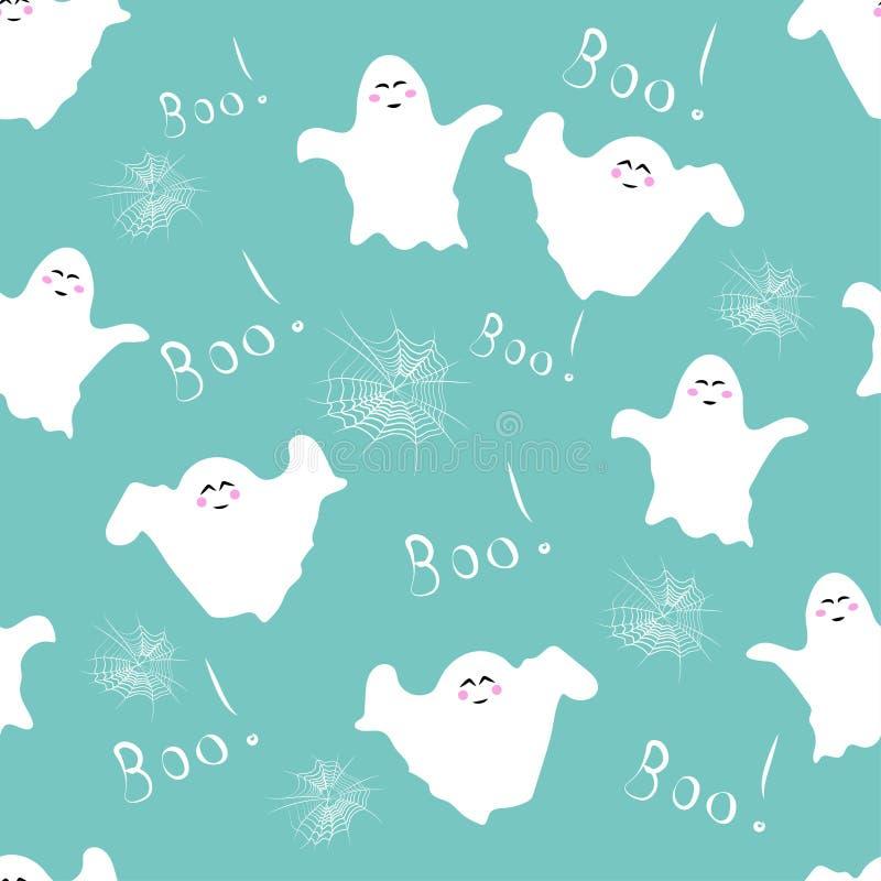 Naadloos patroon: geesten, cobwebben en het woord Boo in wit op een blauwe achtergrond Vector vector illustratie