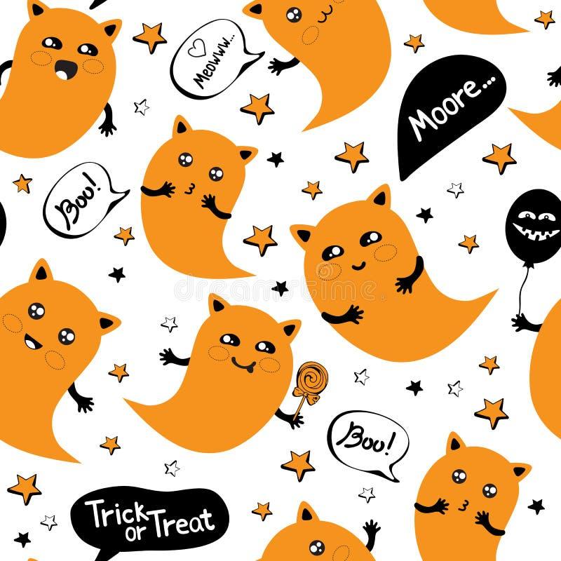 Naadloos patroon gelukkig Halloween in Schudden voor Halloween Party met een schattige Ghost-kat die tussen de sterren vliegt vector illustratie
