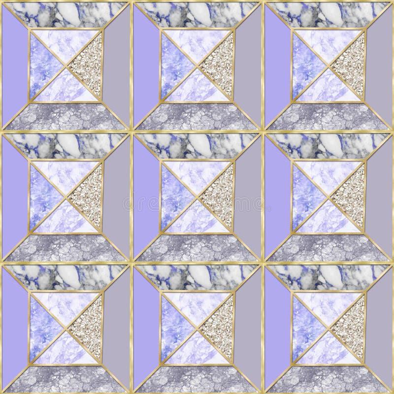 Naadloos patroon - Geometrische Violette marmeren achtergrond met gouden versieringen royalty-vrije stock foto's