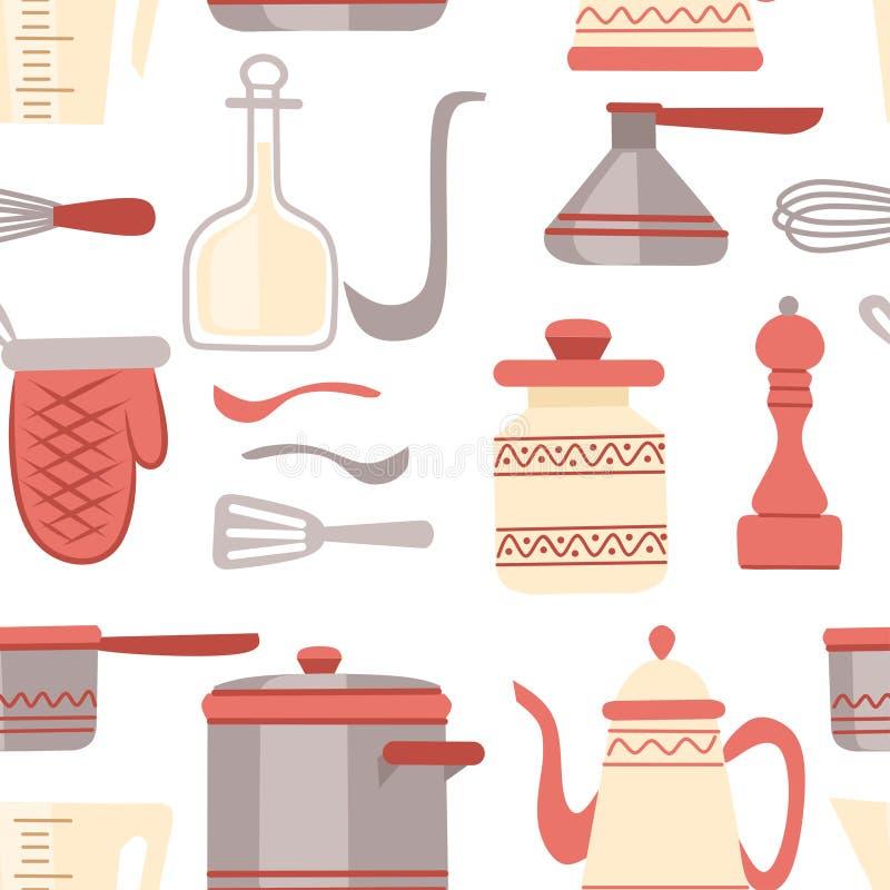 Naadloos patroon Geplaatst keukengerei Keukengerei, cookware, keukengereedschapinzameling De moderne pictogrammen van het keukenw stock illustratie