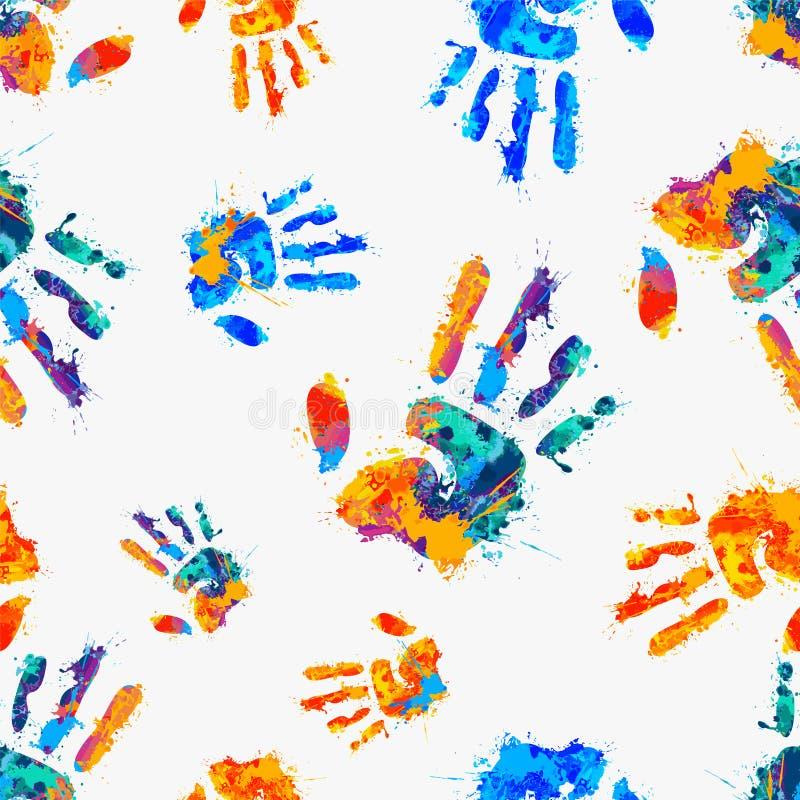 Naadloos patroon - geschilderde handen royalty-vrije illustratie