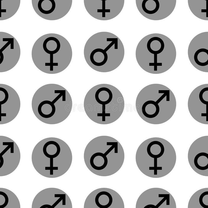 Naadloos patroon Geslachtssymbolen Geslachtsvrouw en man vlakke symbolen Zwarte Vrouwelijke en Mannelijke abstracte symbolen in g stock illustratie