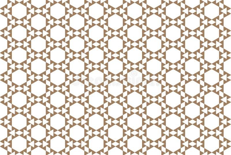 Naadloos patroon Gestalte gegeven zeshoeken, driehoeken, diamanten in bruine kleur royalty-vrije illustratie