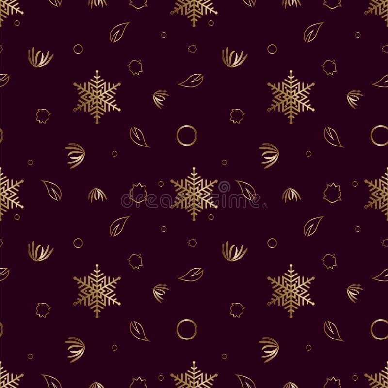 Naadloos patroon Gold-versiering op een bruine achtergrond, vrolijk kerstfeest en gelukkig Nieuw jaar 50 vector illustratie
