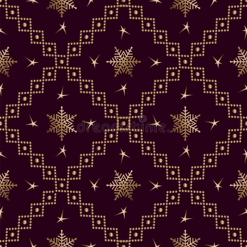Naadloos patroon Gold-versiering op een bruine achtergrond Vrolijk kerstfeest en Happy New Yea 46 stock illustratie