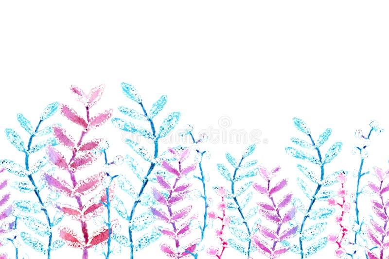 Naadloos patroon, grens van gevoelige kleine roze en groene bloemen en takjes Waterverftekening voor het ontwerp van stock illustratie