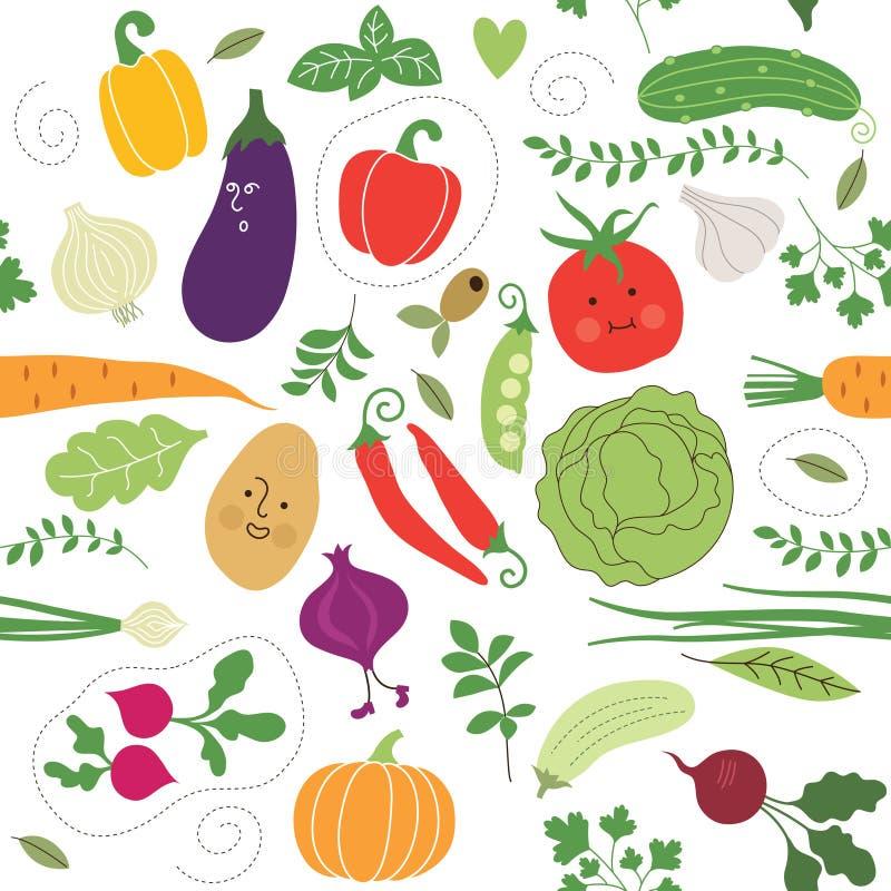 Naadloos patroon, groentenillustraties stock illustratie