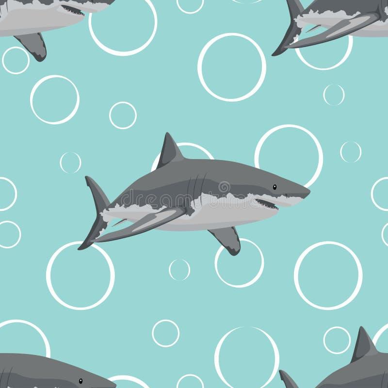 Naadloos patroon Haaien in het water Vector illustratie vector illustratie