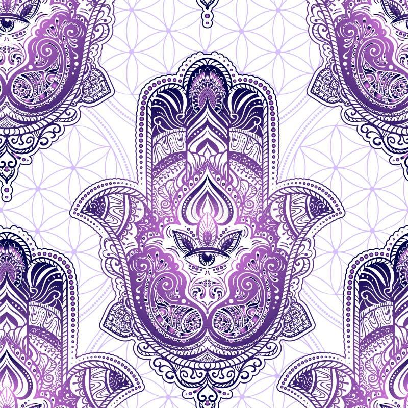 Naadloos patroon Hamsa royalty-vrije illustratie