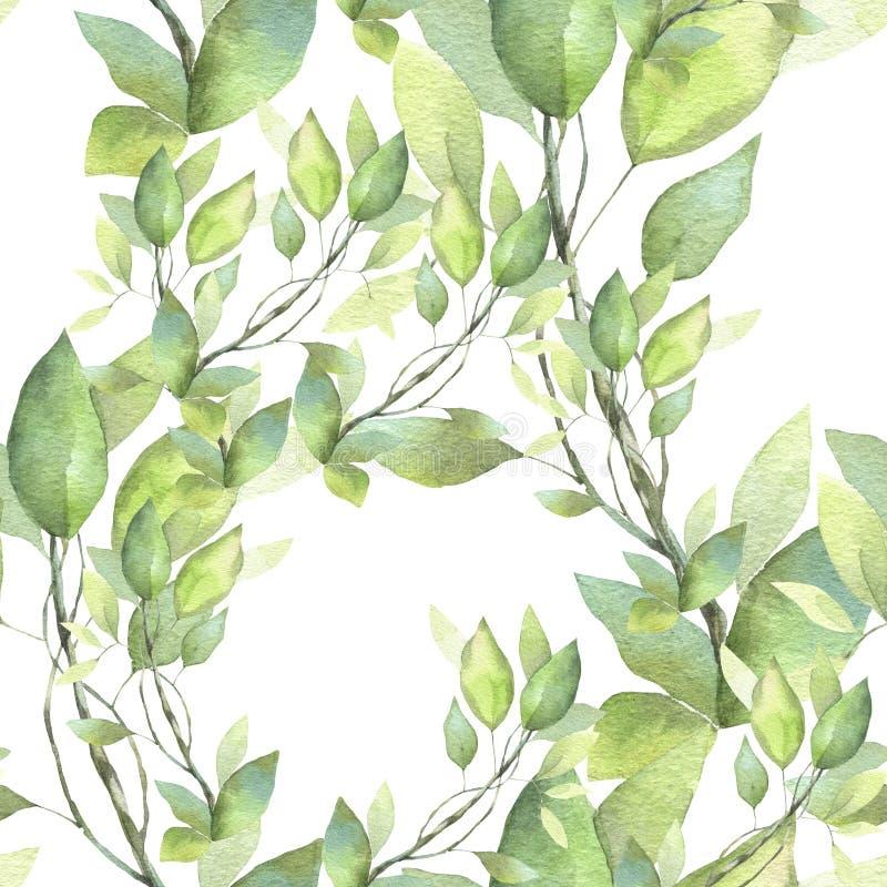 Naadloos patroon Hand geschilderde waterverfillustratie Groene takken stock illustratie