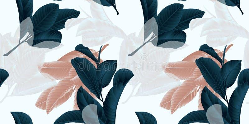 Naadloos patroon, hand getrokken donkergroen, bruin en wit guaveblad op twijg op grijs stock illustratie