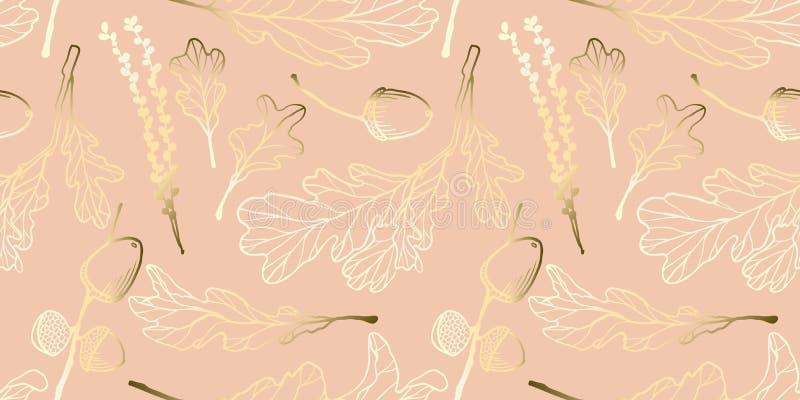 Naadloos patroon, hand getrokken gouden eiken bladeren, eikels en eiken bloemen stock illustratie