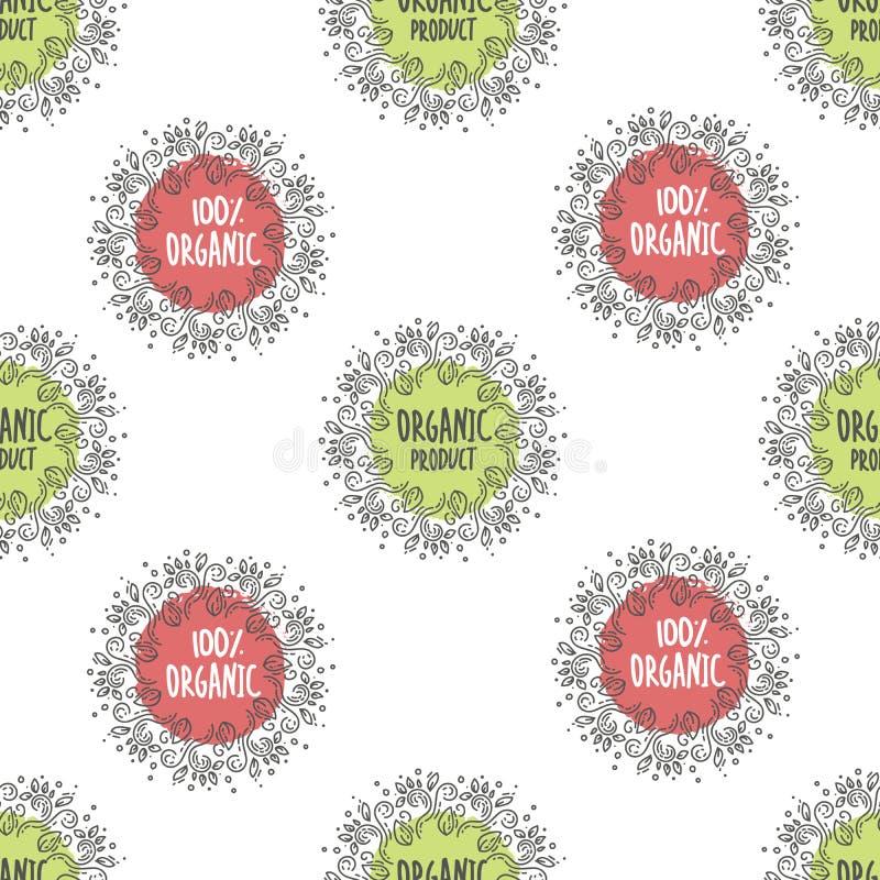 Naadloos patroon hand getrokken organische uitdrukking lettering Vegetariër, 100 natuurvoeding, biologisch product, inlandse vega royalty-vrije illustratie