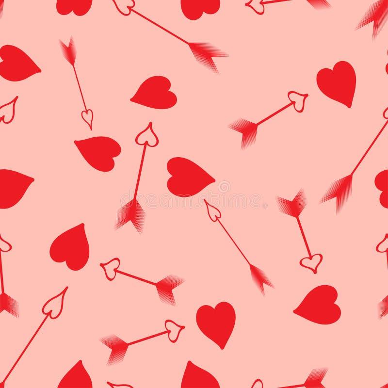 Naadloos patroon hart en pijlen vector illustratie