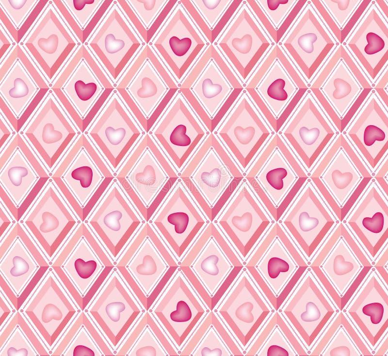 Naadloos patroon: harten en roze diamanten stock illustratie