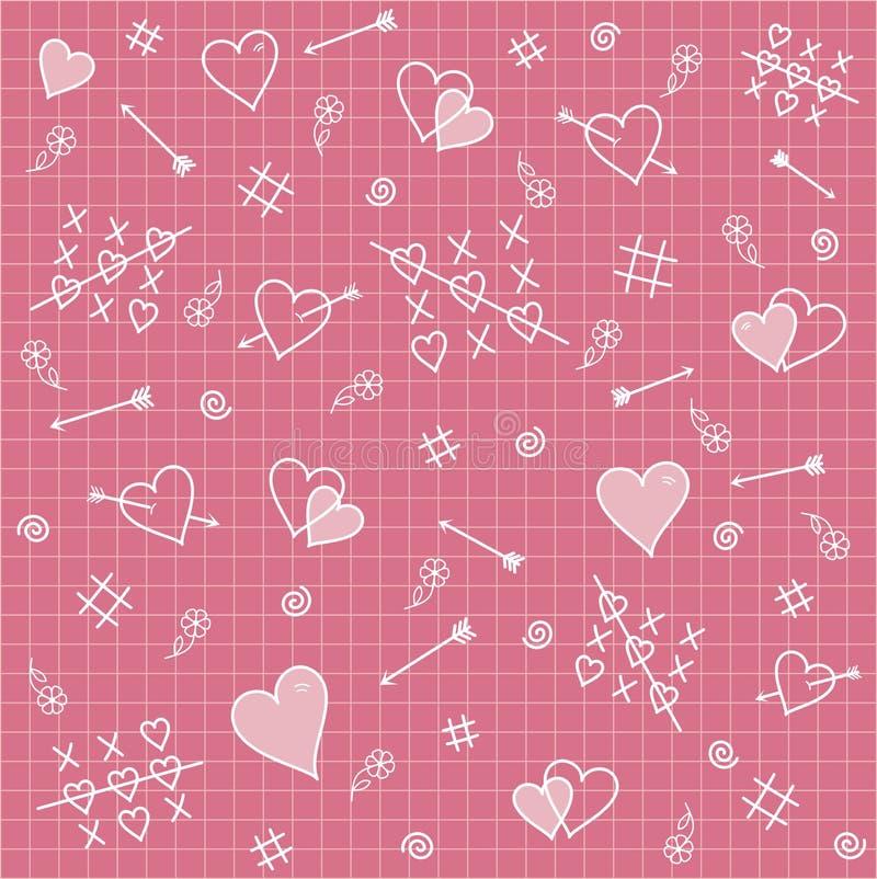 Naadloos patroon: harten, pijlen, liefdeverhouding vector illustratie