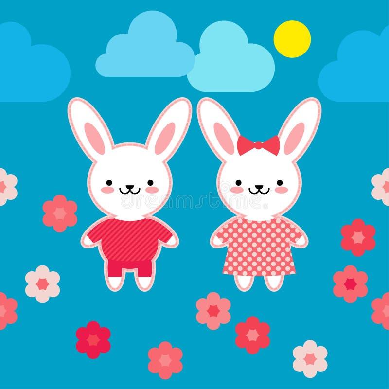 Naadloos patroon Hazen in roze kleren op een blauwe achtergrond met bloemen Kawaii Roze naad Vector illustratie royalty-vrije illustratie