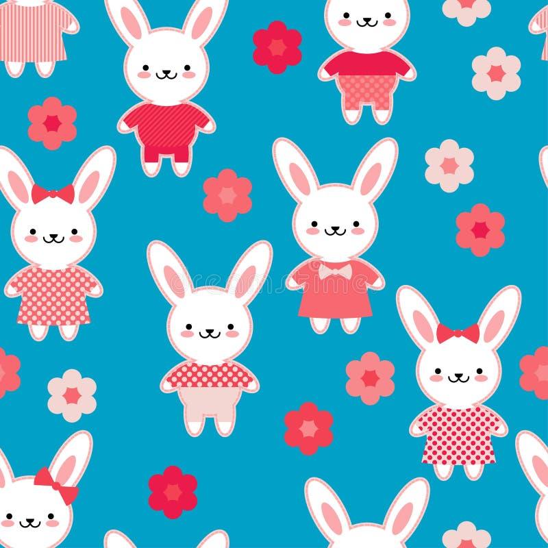 Naadloos patroon Hazen in roze kleren op een blauwe achtergrond met bloemen Kawaii Roze naad Vector illustratie vector illustratie