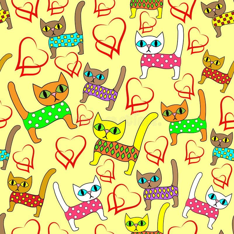 Naadloos patroon Heldere leuke katjes en het houden van harten Geschikt als behang in de ruimte van de kinderen, als verpakking v royalty-vrije illustratie