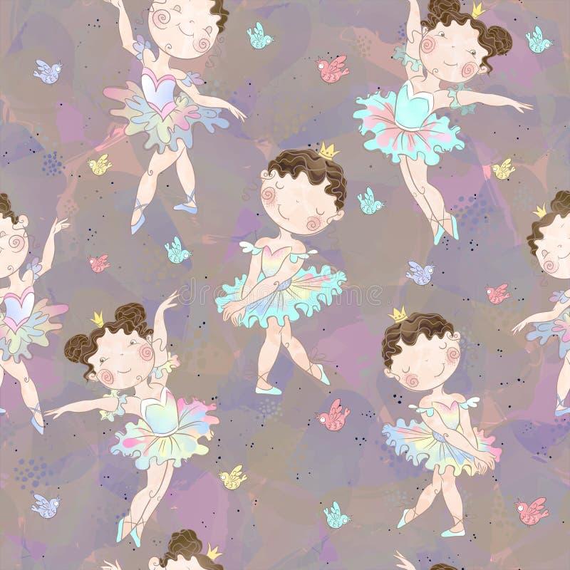 Naadloos patroon Het mooie meisjesballerina's dansen Vector stock illustratie