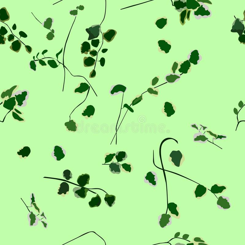 Naadloos patroon, horizontaal verticaal trekken van bladeren en stelen, royalty-vrije stock afbeelding