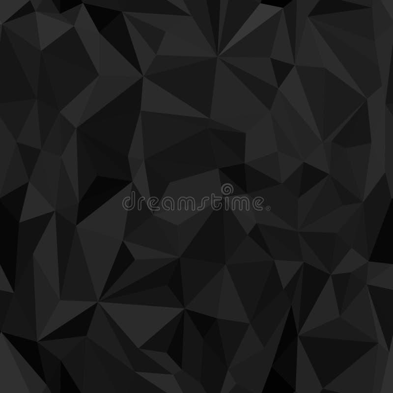 Naadloos patroon Imitatie van zwart verfrommeld die document uit driehoeken en veelhoeken wordt samengesteld vector illustratie