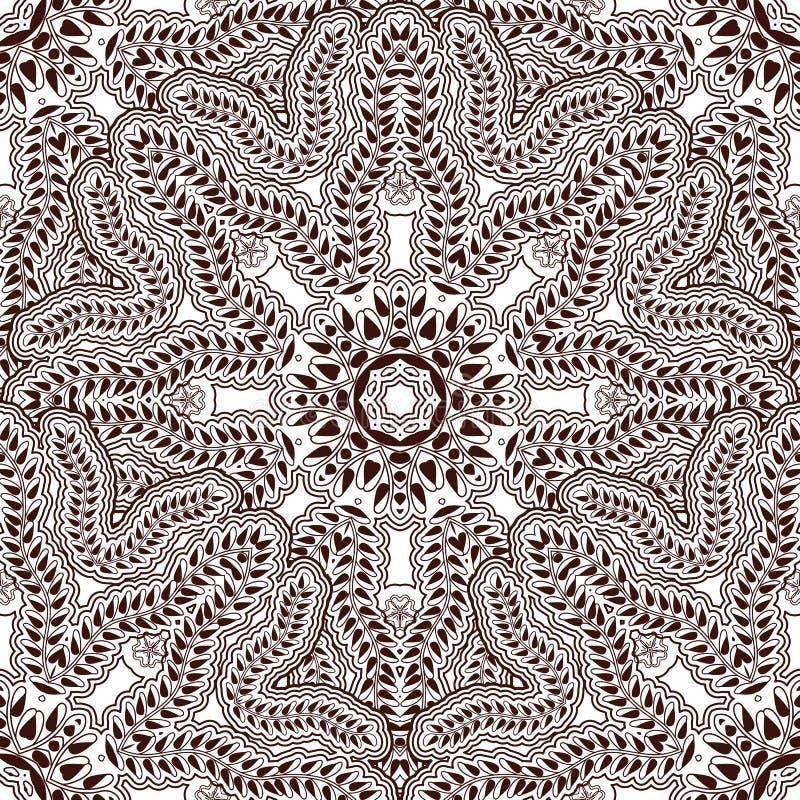 Naadloos patroon in Indisch stijllichaam die Mehndi schilderen Aziatische achtergrond met bloemenornamenten royalty-vrije illustratie