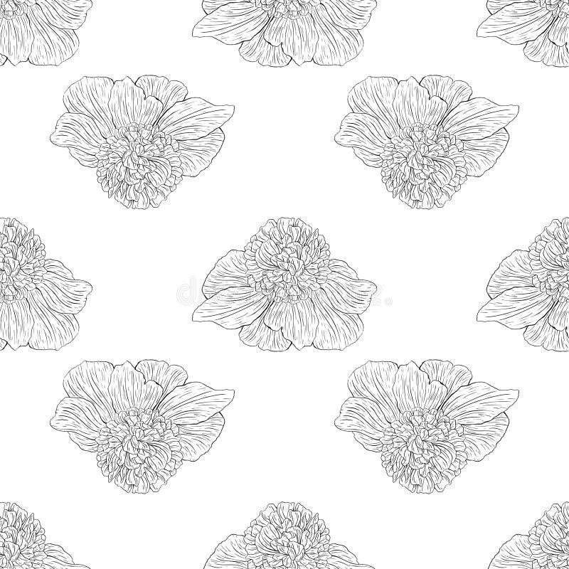 Naadloos patroon Installatie in bloesem, tak met de schets van de bloeminkt Malplaatje voor een adreskaartje, banner, affiche, no royalty-vrije illustratie