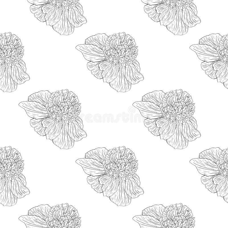 Naadloos patroon Installatie in bloesem, tak met de schets van de bloeminkt Malplaatje voor een adreskaartje, banner, affiche, no stock illustratie