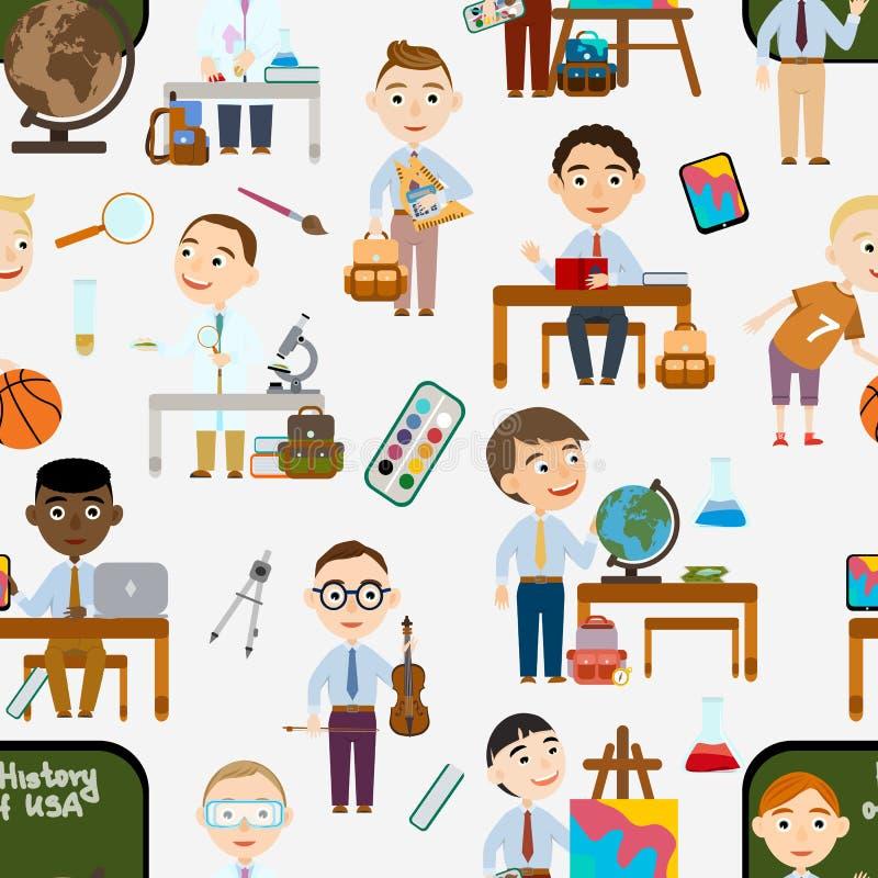 Naadloos patroon Jongens op school Student in verschillende lessen vector illustratie