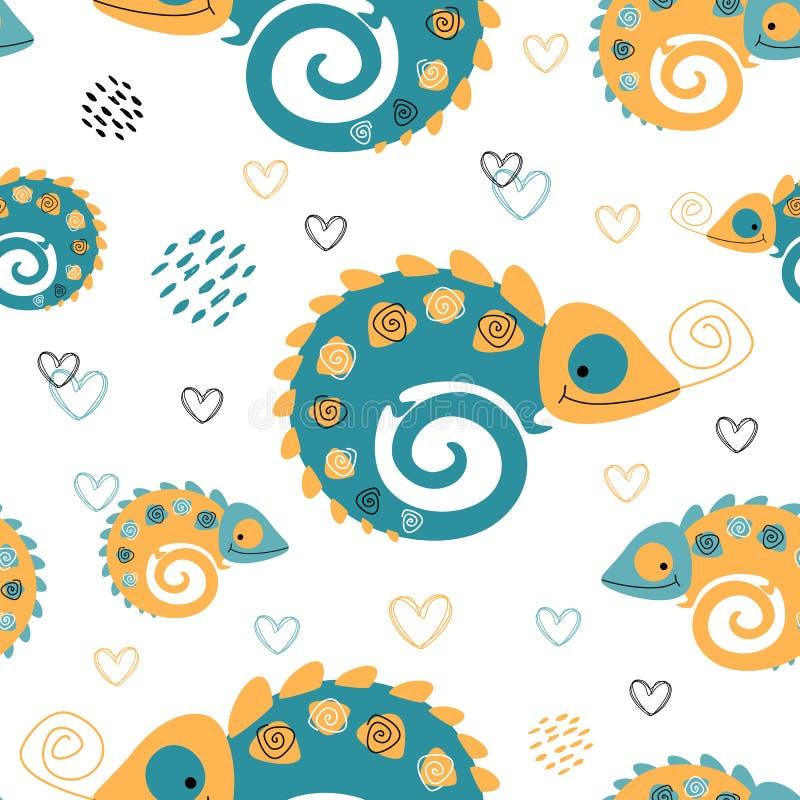 Naadloos patroon Kameleonenmoeder en kind motherhood Tropische druk Leuke Stijl Vector vector illustratie