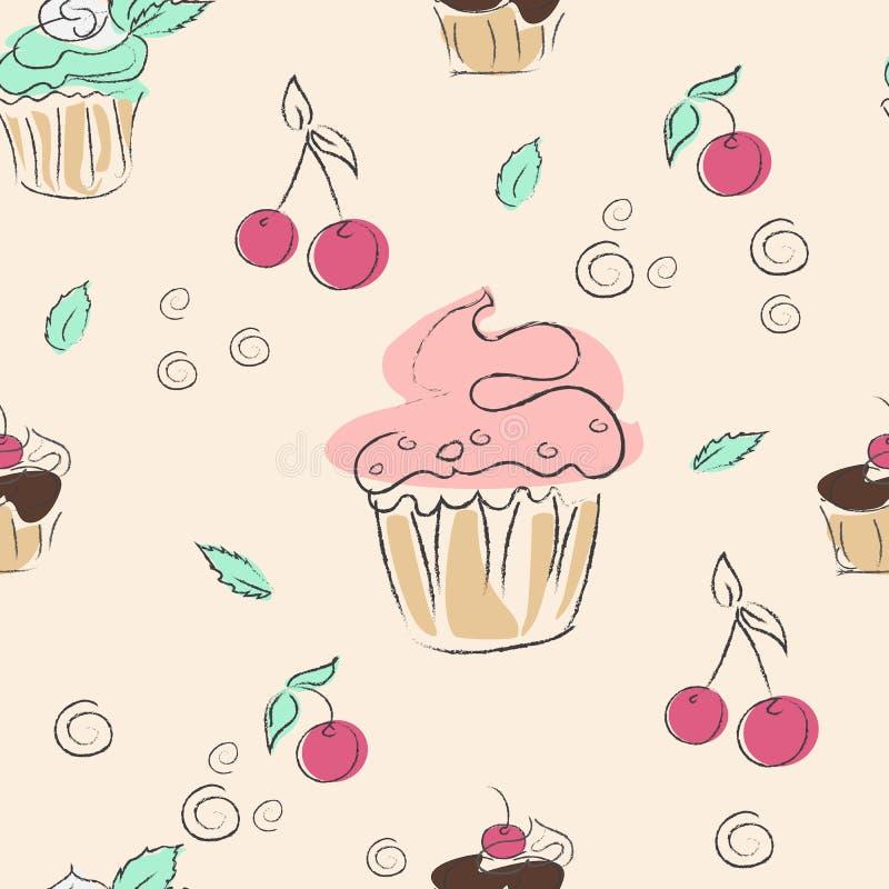 Naadloos patroon, kersen, munt en cupcakes stock illustratie