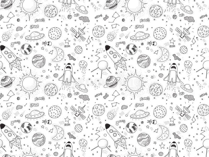 Naadloos patroon Kosmische geplaatste voorwerpen Hand getrokken vectorkrabbels Raketten, planeten, constellaties, ufo, sterren, e vector illustratie