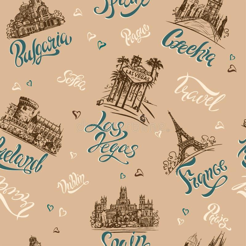 Naadloos patroon Landen en steden lettering schetsen oriëntatiepunten Reis Bulgarije, Tsjechische Republiek, Las Vegas, Ierland,  stock illustratie