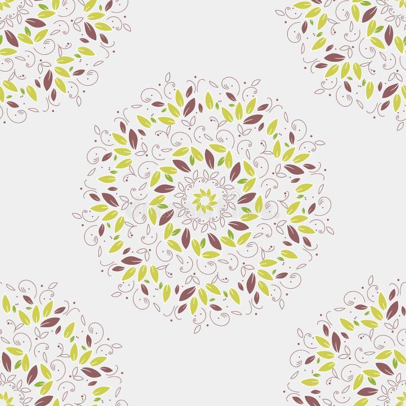 Naadloos patroon Mandalacirkel Het ronde ornament van boombladeren op witte achtergrond Groene vectorillustratie eenvoudig stock illustratie