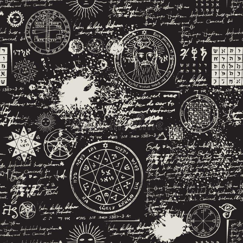Naadloos patroon, manuscript met geheime symbolen vector illustratie