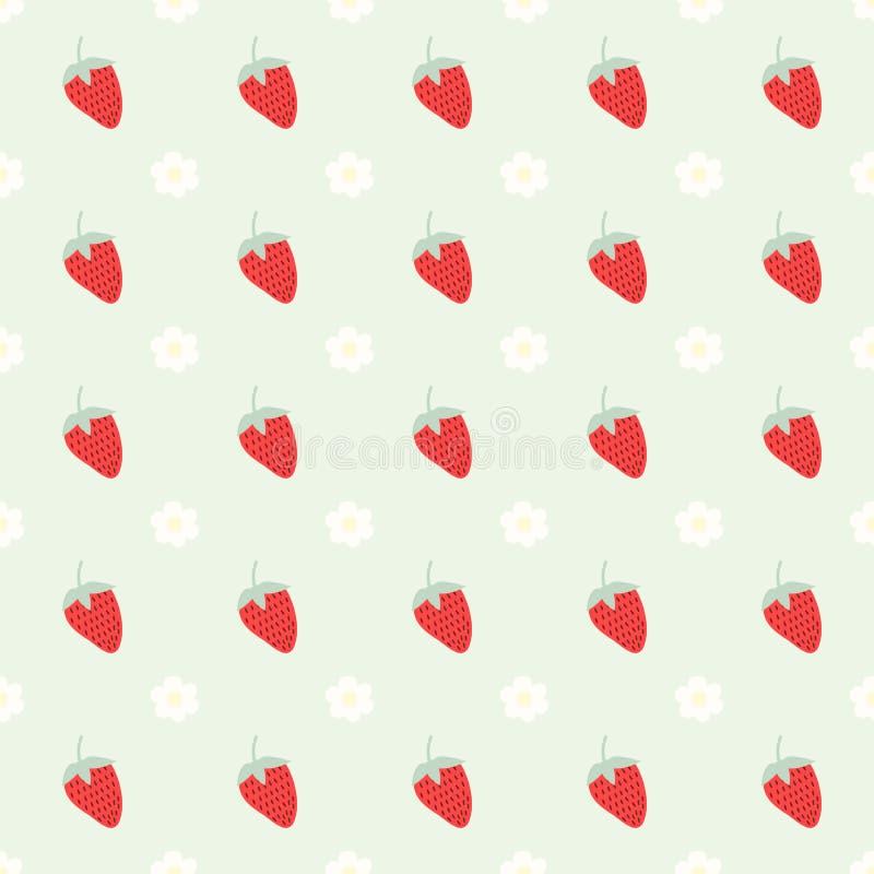 Naadloos patroon met aardbei en bloemen royalty-vrije stock foto
